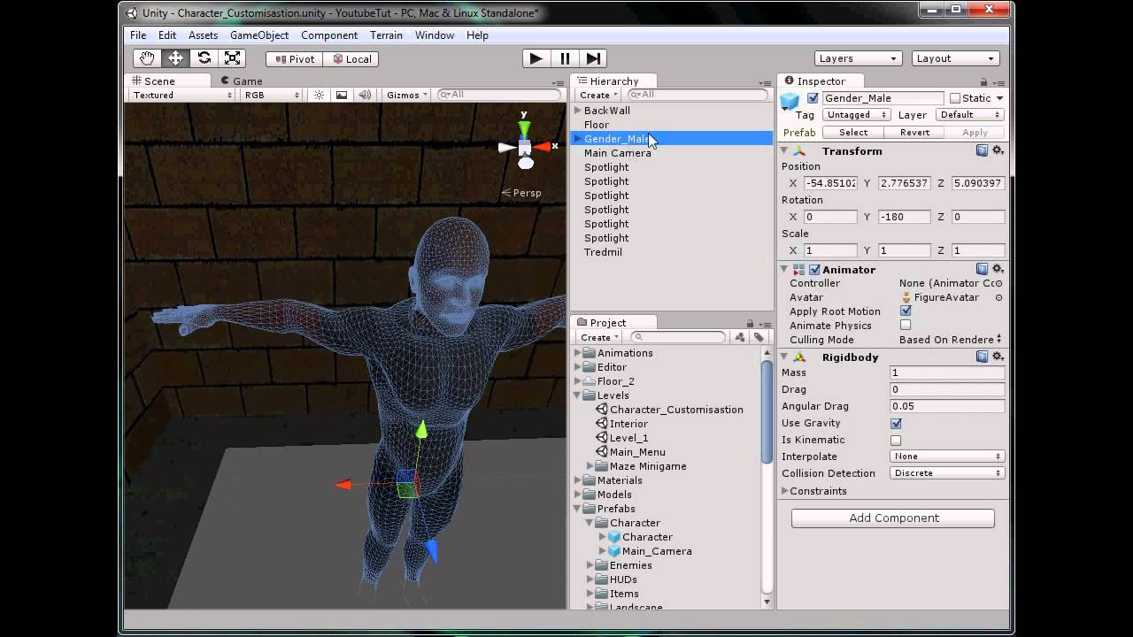 Unity 3d Tutorial Part 70 Character Creation Youtube