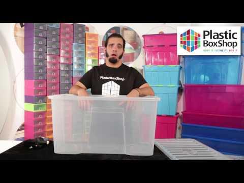 110 Litre Crystal Plastic Storage Box & Lid - Pallet Deal 90 Boxes
