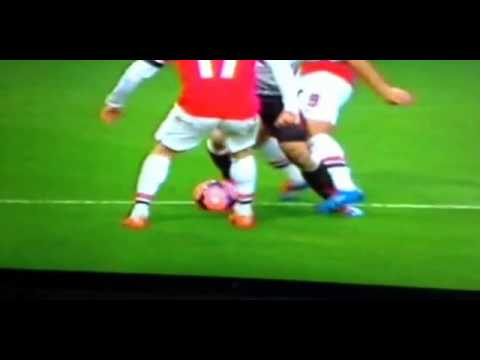 Podolski Foul On Suarez | Penalty Liverpool Against Arsenal  2-1 | 16/2/14 HD