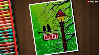 Step by Step New Year Drawing for Beginners with Oil Pastels - Art Arena