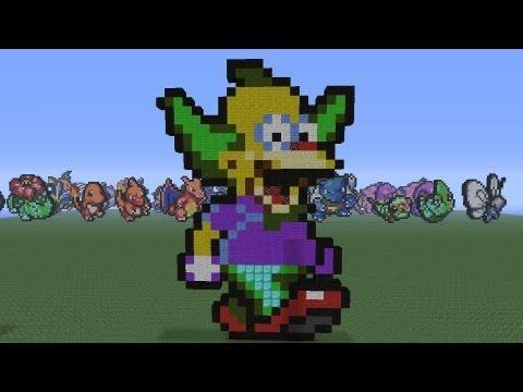 Minecraft Pixel Art: Krusty the clown Tutorial - YouTube