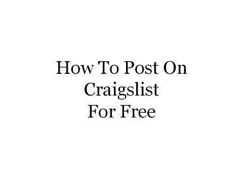 How To Post On Craigslist For Free