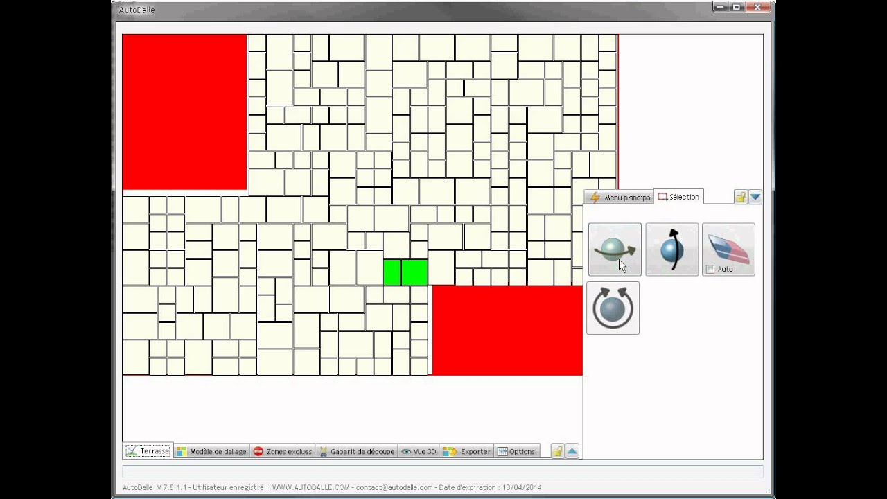 Autodalle g n rateur de plan de pose pour carrelages et for Cherche logiciel gratuit pose de carrelage