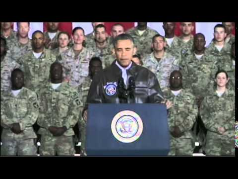 Obama Surprises Troops In Afghanistan On Memorial Day Weekend 2014 - Full speech