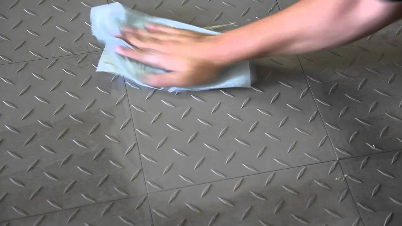 Cleaning garage floor tiles by hand youtube for Garage floor cleaner degreaser