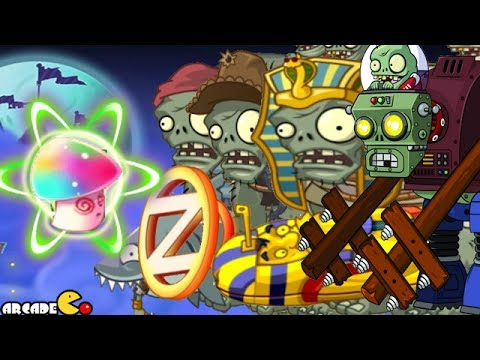 Plants Vs Zombies 2 Dark Ages: All GARGANTUAR Fight HYPNO-SHROOM NEW PLANT