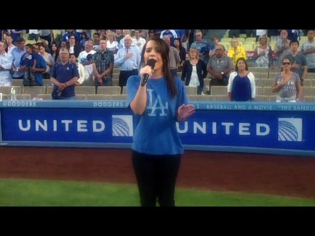Kristen Alderson sings the national anthem