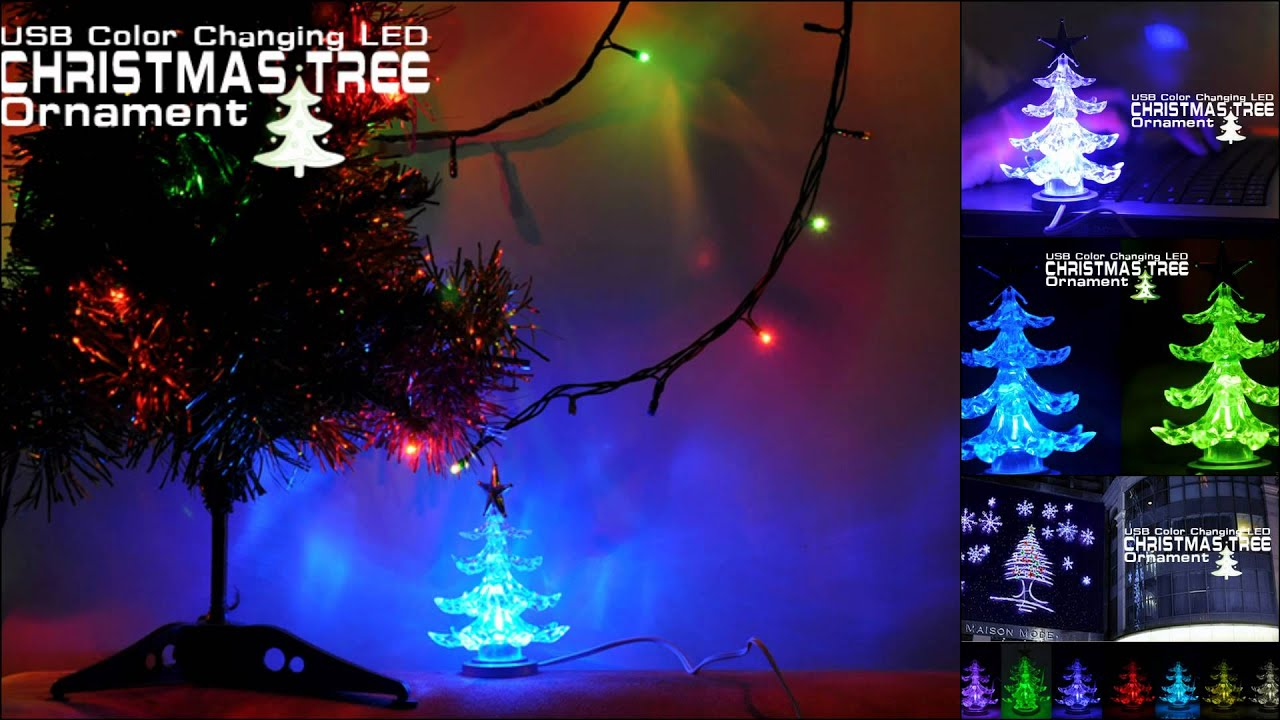 usb color changing led christmas tree ornament youtube. Black Bedroom Furniture Sets. Home Design Ideas