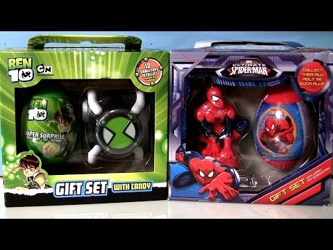 Super Surprise Eggs Gift Set Ultimate Spiderman Marvel BEN10 Easter Eggs by Disneycollector