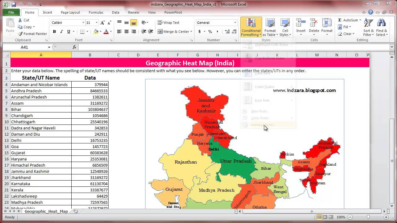 geographic heat map india excel template how to change colour gradient youtube. Black Bedroom Furniture Sets. Home Design Ideas