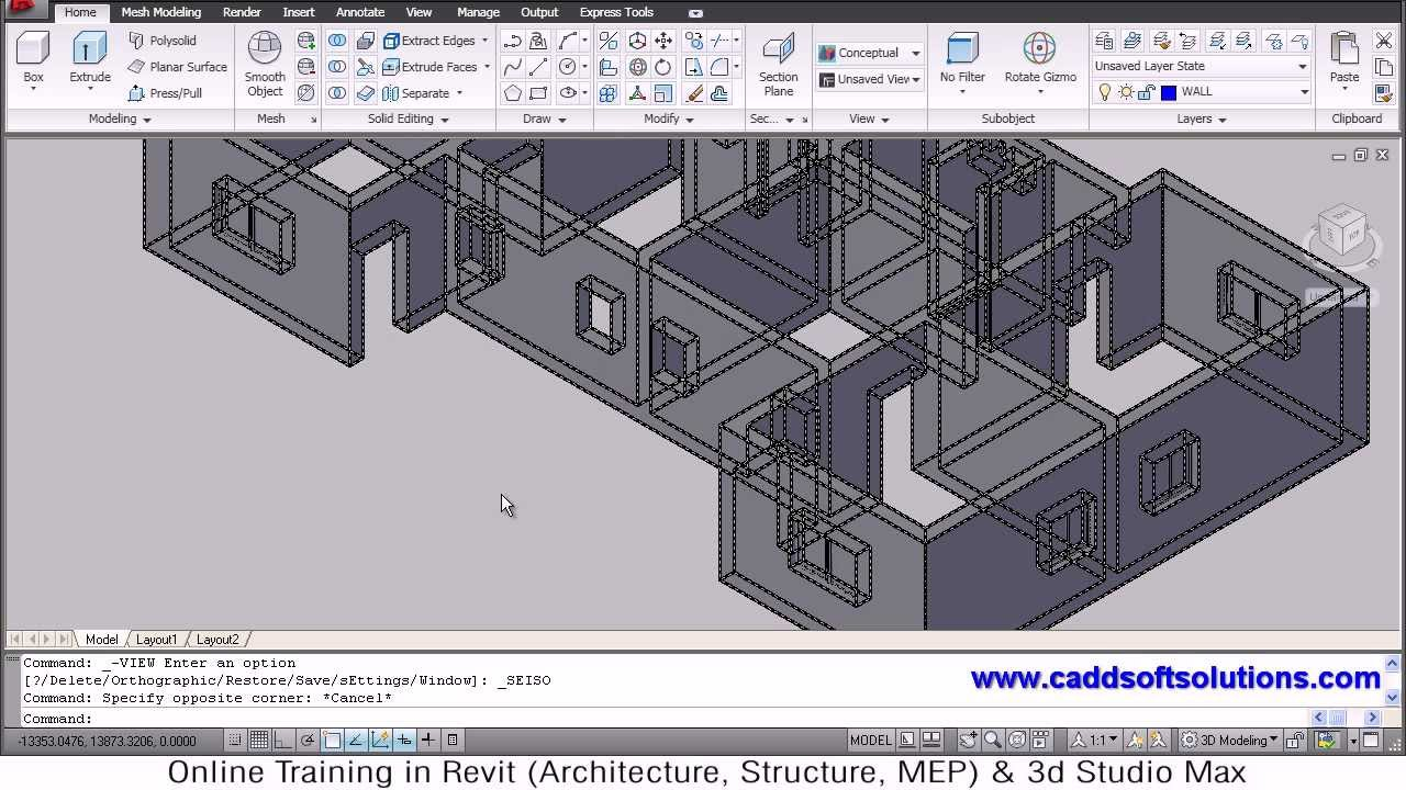 Autocad House Modeling Tutorial Home Building Floor Plan Room Youtube