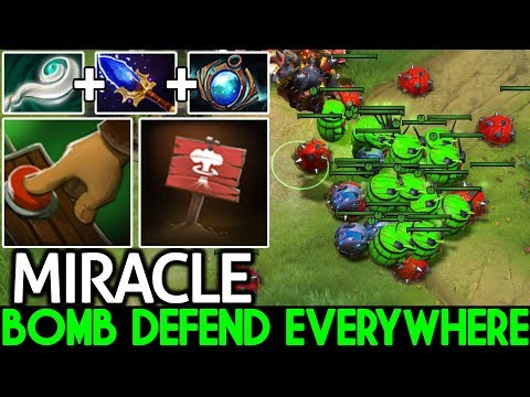 MIRACLE [Techies] Bomb Defend Everywhere Funny Game 7.22 Dota 2