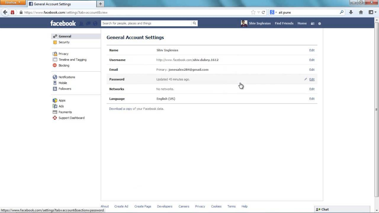 How to change email for facebook