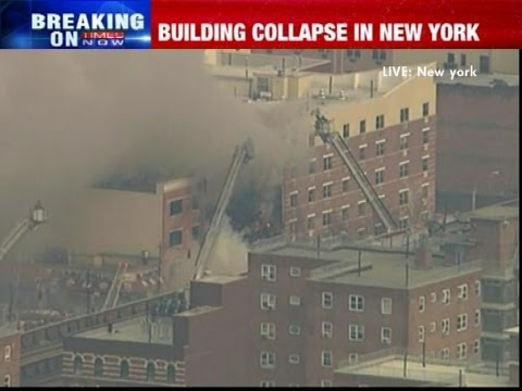 Building collapses after explosion in New York USA