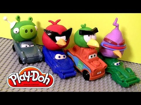Play Doh Cars Angry Birds Space Mater & Lightning McQueen as Red Bird and Bad Piggies Disney Pixar
