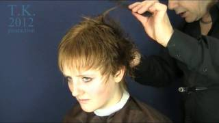 Long Golden Blond Hair To Short Brown Pixie Style Of