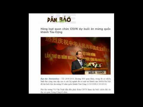 02.10.2014 - Dân Làm Báo - Hàng loạt quan chức CSVN dự buổi ăn mừng quốc khánh Tàu Cộng