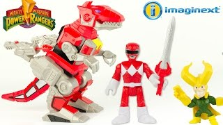 Imaginext Power Rangers Mighty Morphin Zord T-Rex Rouge Contre Loki Dinosaure Jouet Toy Review
