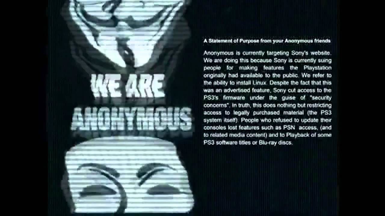 Ps3 psn servers down hacked by anonymous official anonymous