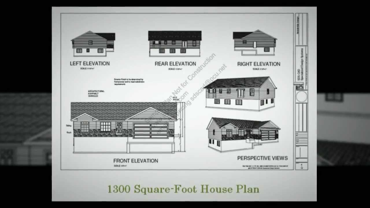 Low cost house plan 1300 square foot house plan youtube for Lowest cost per square foot build house