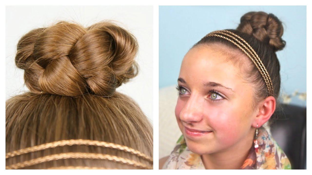 simple braided bun updo cute girls hairstyles youtube
