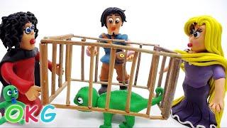 Princess Rapunzel and Flynn Save Pascal Play Doh Cartoon Animation Fun Kids Videos