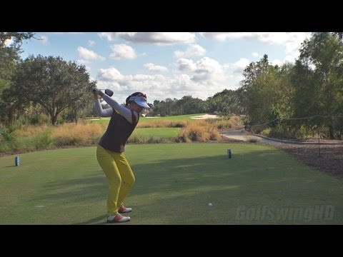 JENNY SHIN 2013 DRIVER GOLF SWING - DOWN THE LINE REGULAR & SLOW MOTION - 1080p HD