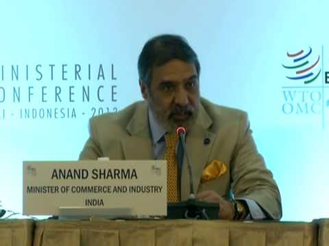 Union Commerce Minister Sh Anand Sharma addressing a press conference at WTO , Bali