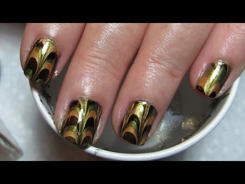 Mom's Gold, Green & Black Water Marble Nail Art Tutorial (Water Marble March #7), More pictures of this marble can be seen in this post: http://mysimplelittlepleasures.blogspot.com/2012/08/guest-notd-gold-green-black-water.html Check out s...