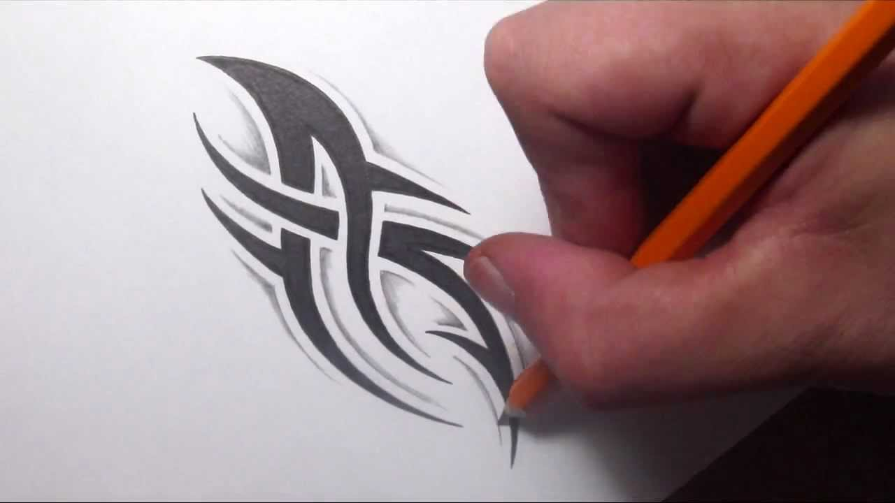 Drawing a simple spiky tribal tattoo design with some for How to shade tattoos
