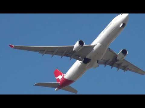 Qantas Airlines A330 takeoff Sydney International