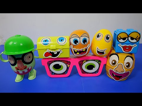 Opening/Unboxing 7 Funny Face Surprise Toy Eggs. Mario Bros, Spongebob, Angry Birds, Unikitty.