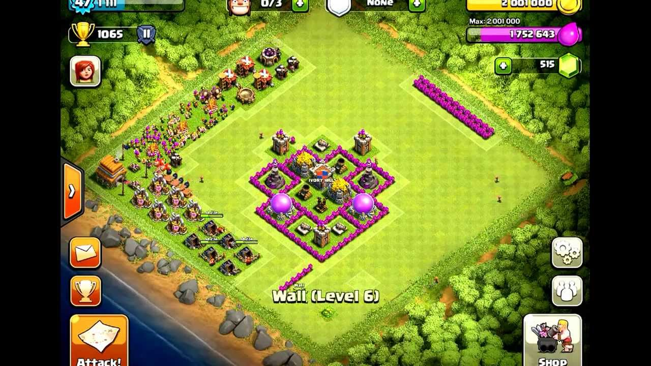 Clash of Clan Town Hall 6 Farming base - YouTube