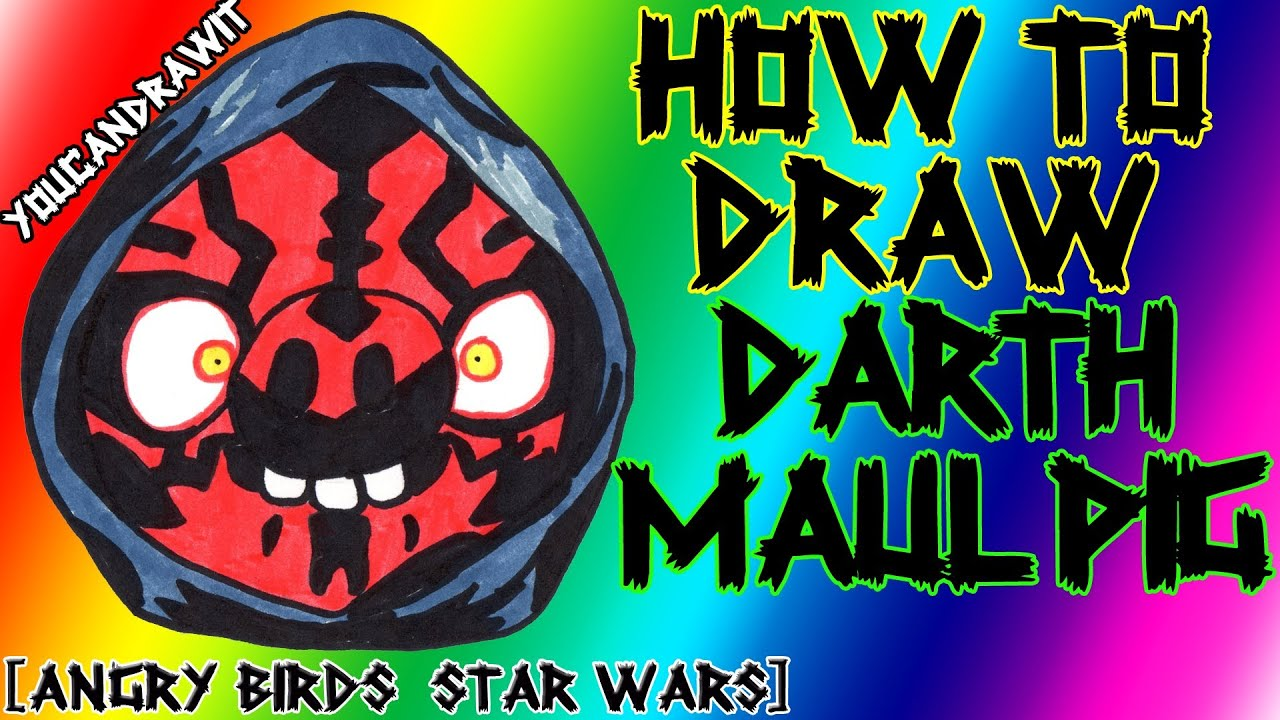 How to draw darth maul pig from angry birds star wars - Coloriage angry bird star wars ...