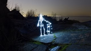 Light Painting Animation of a Skateboarding Skeleton