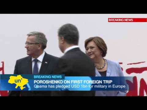 Ukrainian President-elect Petro Poroshenko meets US counterpart Barack Obama in Poland