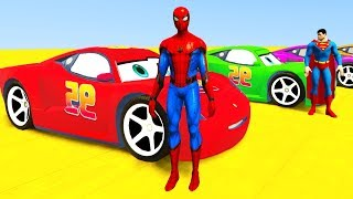 Colors for Children to Learn with McQueen Tow Vehicles 3D Spiderman for Kids & Superhero Cars