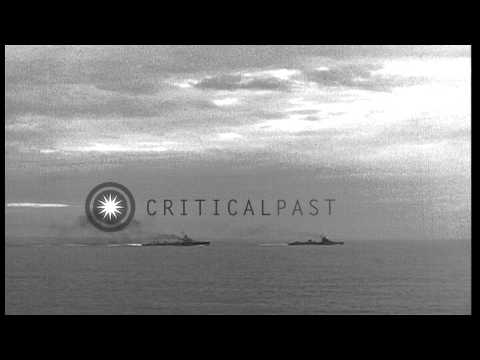 Italian destroyer class ships underway at sea off the coast in Italy. HD Stock Footage