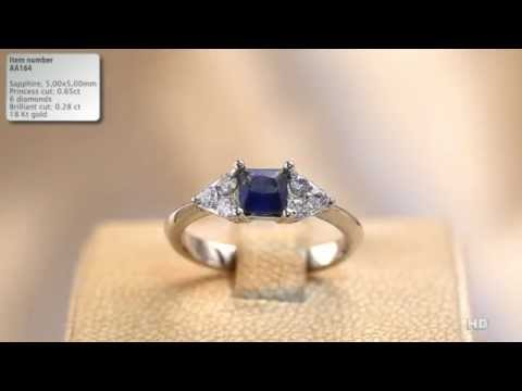 Inel cu diamante si safir princess cut AA164