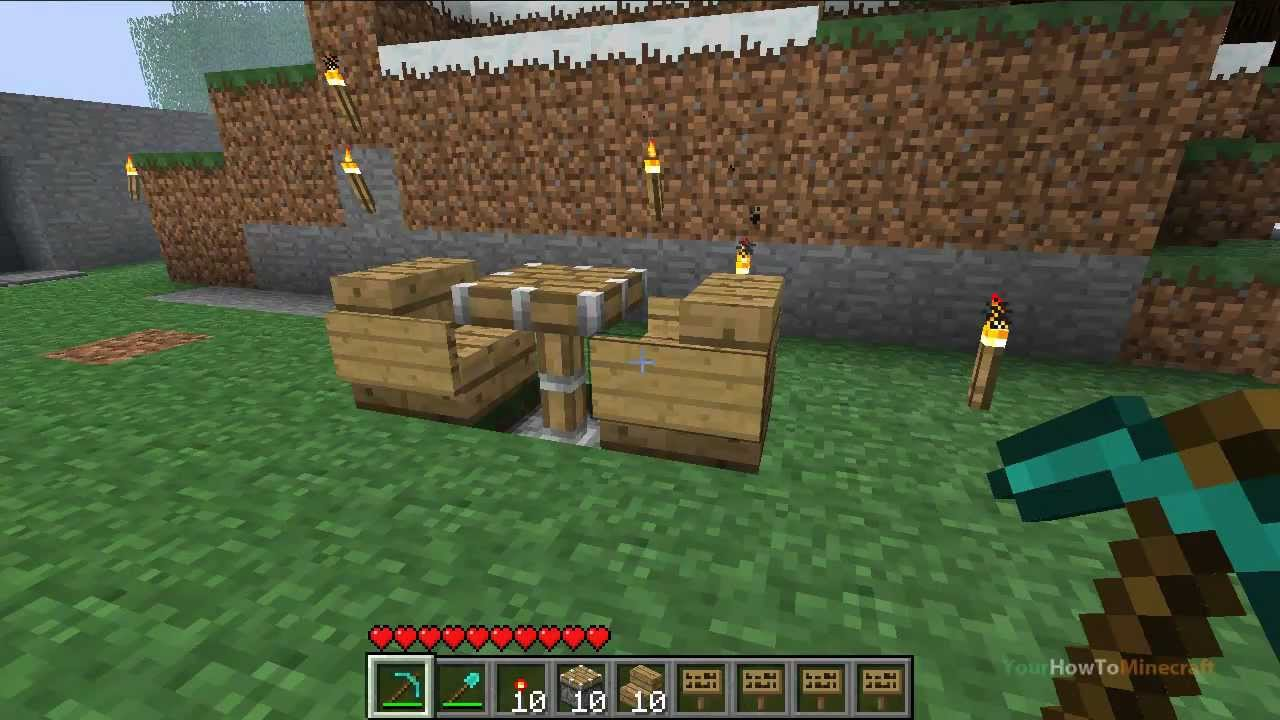 Piston table chairs tutorial minecraft beta 1 7 1 for Minecraft coffee table