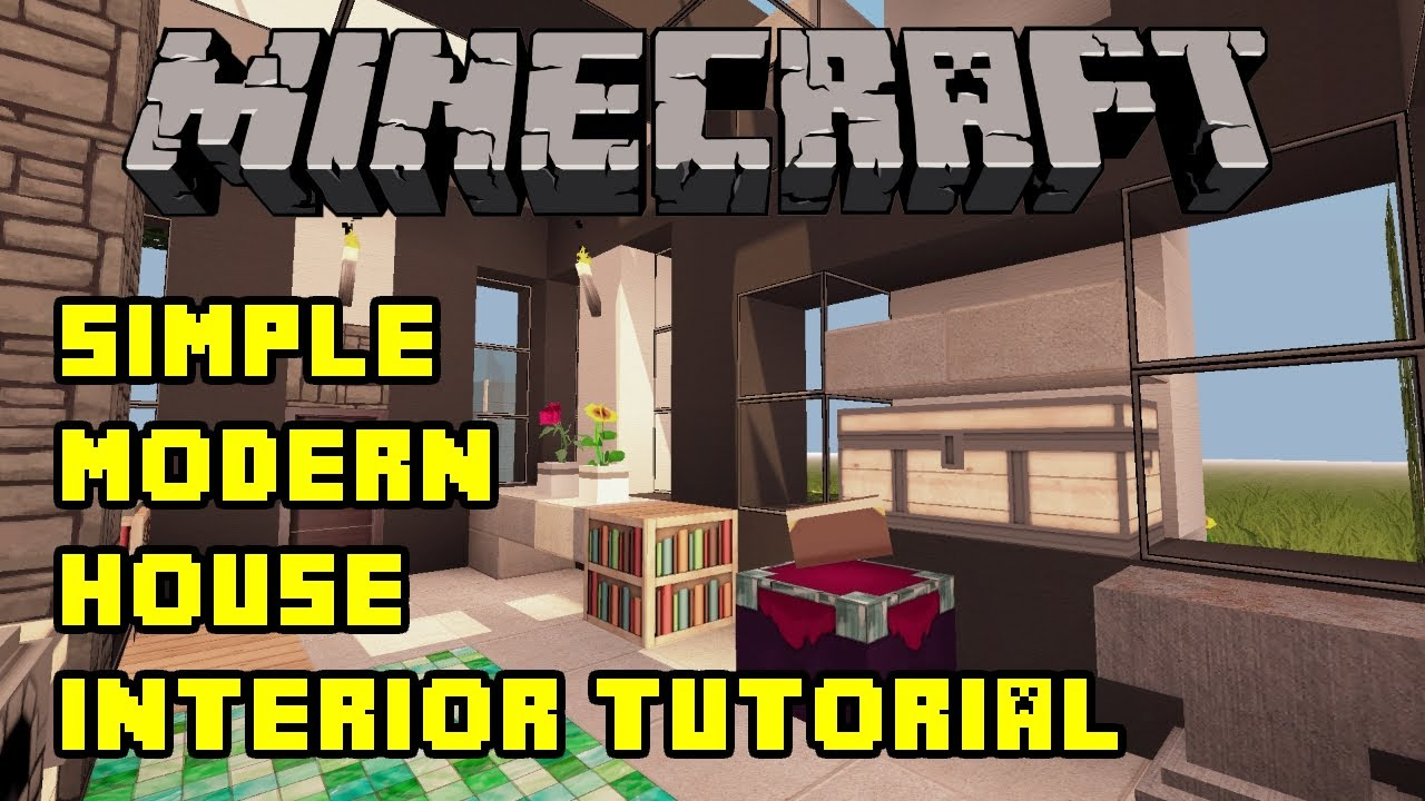 Minecraft simple modern house interior tutorial xbox for Minecraft pe simple modern house