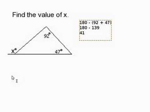 how to find the missing angle of a triangle worksheet