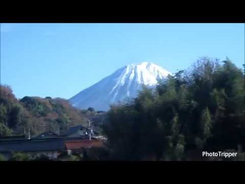 View of Mount Fuji in Japan on Shinkansen bullet train on way to Tokyo