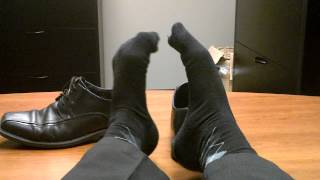 All comments on taking off my well worn work shoes revealing my thin