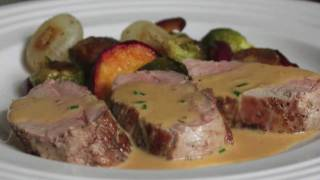 Pork Tenderloin Diablo Recipe - Spicy Pork Diablo - Pork Tenderloin with Mustard Cream Sauce