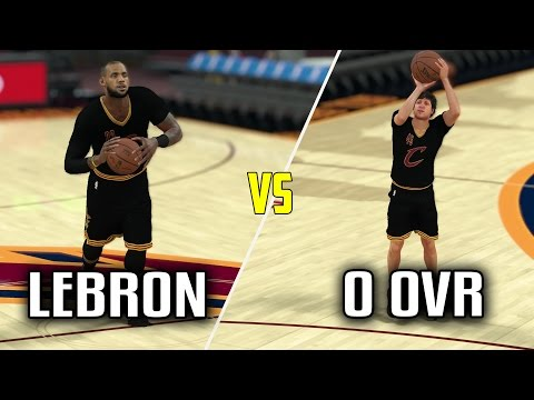 CAN LEBRON HIT A HALF COURT SHOT BEFORE A 0 OVERALL HITS A THREE? NBA 2K17 GAMEPLAY!