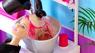 Barbie Doll Hair Style Salon - play baby dolls hair cut, hair wash, hair curl in Barbie salon shop