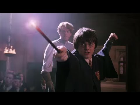 Harry and Draco duel.,