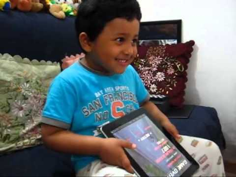 Azaan Mahmud playing on Teblet PC