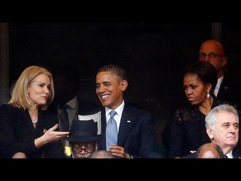 Video: Obama 'selfie' and fake interpreter at Mandela memorial